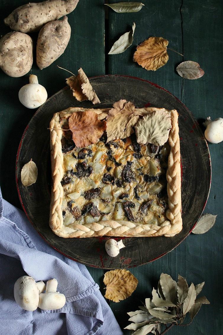 torta ai funghi e patate dolci