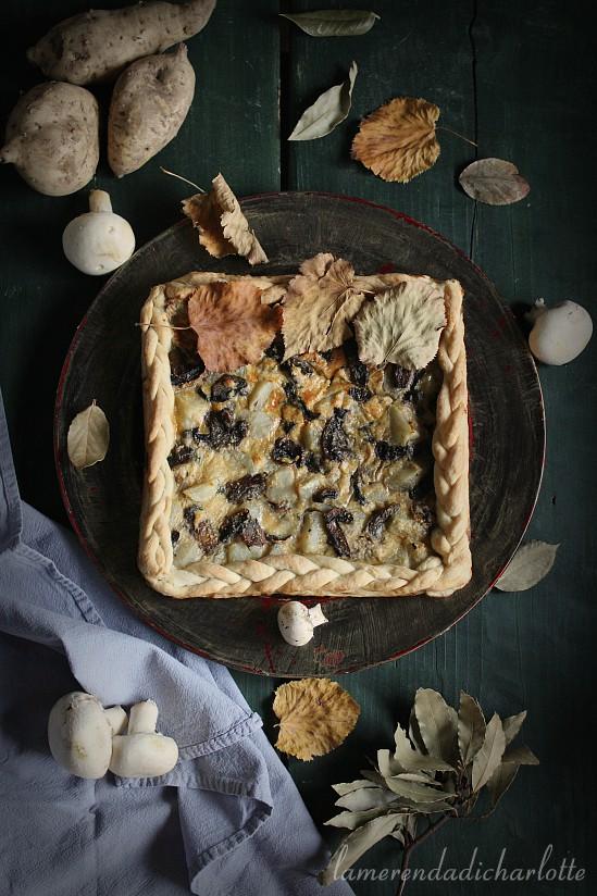 torta con patate dolci e funghi